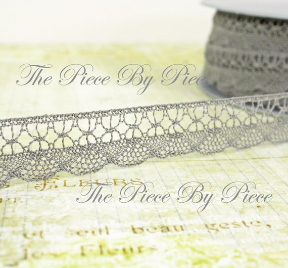 2 Yards of Dentelle Viscose French Lace in Grey