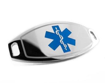 Blue Medical ID Plate for Beaded Bracelets, ENGRAVED FREE - i1C