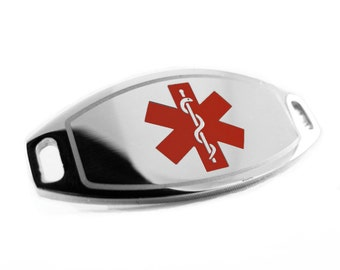 Red Medical ID Plate for Beaded Bracelets, ENGRAVED FREE - i1C