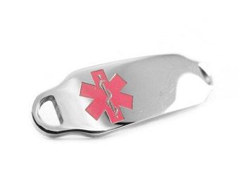 Pink Steel, Medical Alert ID Plate for Beaded Bracelets, Custom ENGRAVED FREE - i2C