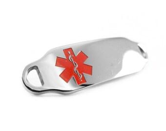 Brushed Steel, Medical Alert ID Plate for Beaded Bracelets, Red, Custom ENGRAVED FREE - i2C