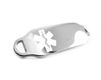 White Medical ID Plate for Beaded Bracelets Custom ENGRAVED FREE - i2C