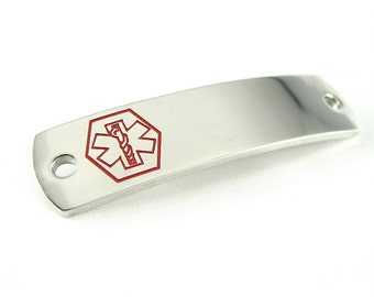 Steel, Medical Alert Plate for Beaded Bracelets, Custom ENGRAVED FREE - i5