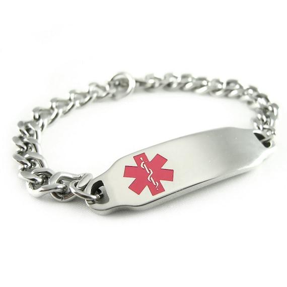 Steel, Ladies Medical ID Bracelet, Pink, Custom ENGRAVED FREE - i2C-BS1