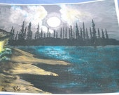 Lake Cabin Print - Moon Lake Cabin Print -  Limited Edition Fine Art Print - 12 x 13 Print - Moonglow Print - Fine Art Print