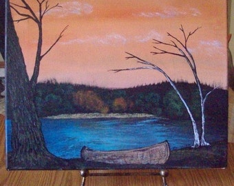Lake Canoe Painting - Fine Art Painting - Original Landscape Painting - Acrylic On Canvas - 14 x 11 Canvas Painting - Summer Canoe Painting