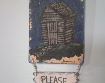 Outhouse Bathroom Decor - Outhouse Wall Hanging - Bathroom Decor - Hand Painted Sign - Outhouse at Night - Small Wood Bathroom Sign
