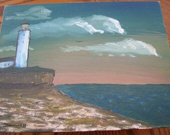 Sunset Lighthouse Painting - Ocean Painting - Original Acrylic Painting - 11 x 14 - Fine Art - Lighthouse Lookout - Ocean View Lighthouse