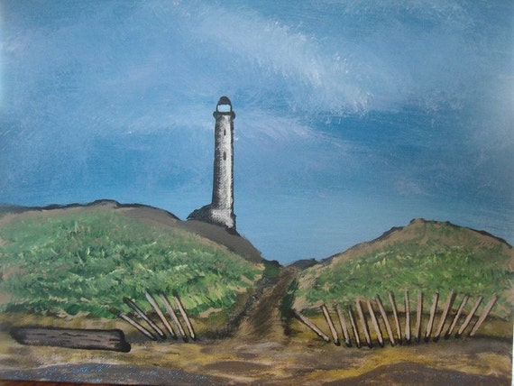 Original Lighthouse Painting - Lighthouse On The Beach - Fine Art - Acrylic Painting - 11 x 14 Lighthouse Painting - Large Painting