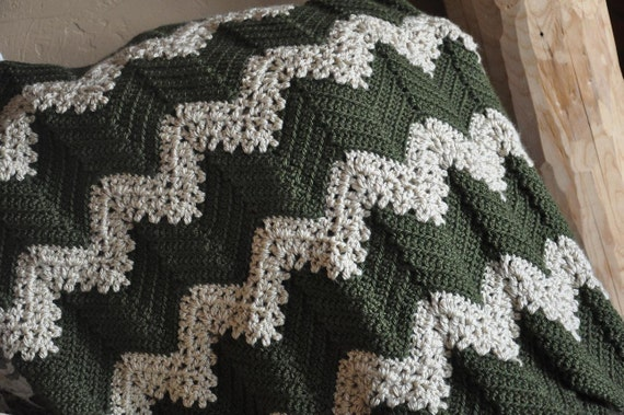 RESERVED FOR TINA Custom Ripple Afghan Blanket Chevron - 2