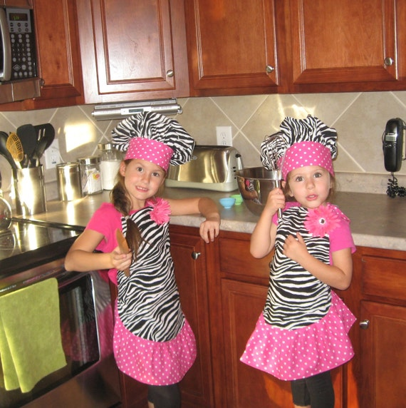 Girls Boutique Zebra Apron and Hat