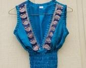 Vintage Sari Slik Top.. Romantic hippie Dream Girl in Turquoise/ Silver  M