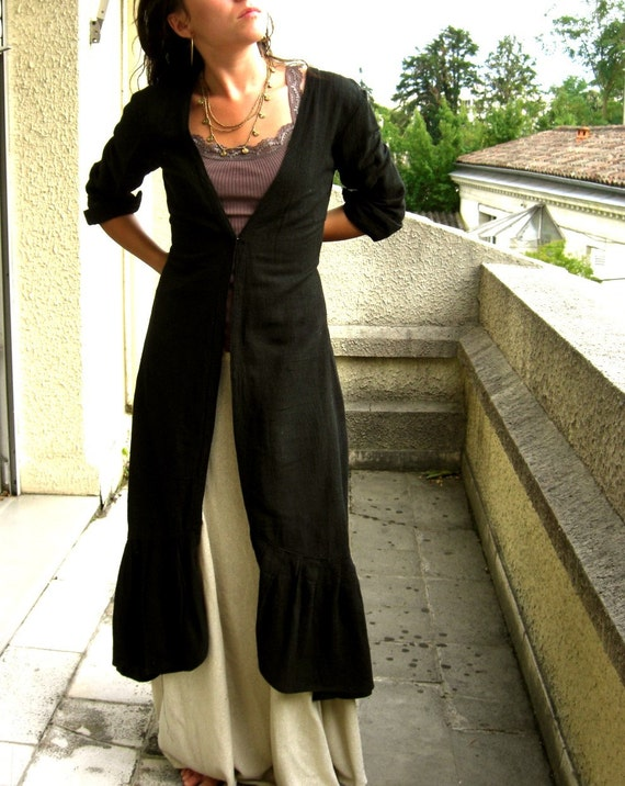 Flow Raw Silk Ruffle Jacket /Hooded M/L