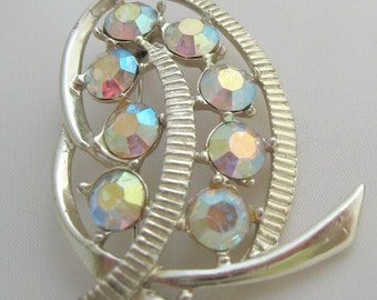 SALE Silvertone Brooch with Colourful Aurora Borealis Crystals