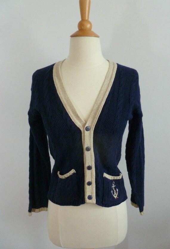 Fisherman's Nautical Sweater in Navy and Ecru