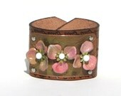 Wide Leather bracelet , Pretty vintage flowers High style