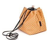 Orange handbag Purse with white pattern for evening going out - Japanese bag