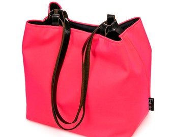 black friday Hot Neon Pink Vegan Handbag Medium Purse FAUX LEATHER STRAPS Detachable case Lightweight bag Japanese Cube Valentines Day