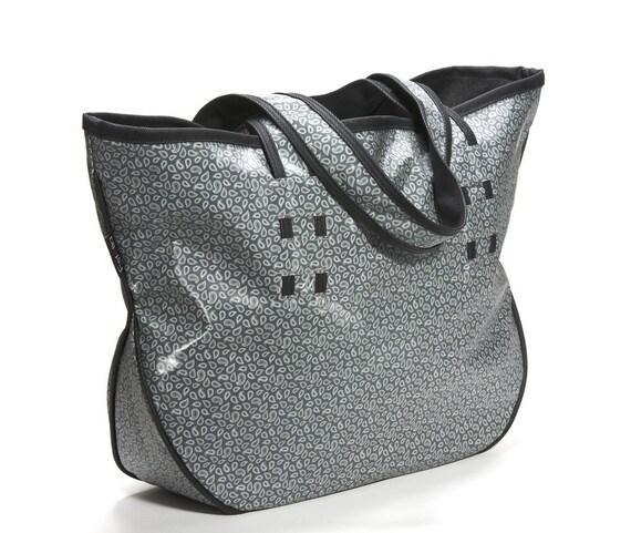 A unique  gray Paisley pvc large vegan shoulder bag-ready to ship - ON SALE 30% OFF.  Summer bag.Spring Sale.