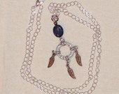 Denim Lapis Lazuli and Pewter Feather Wheel Necklace in Silver