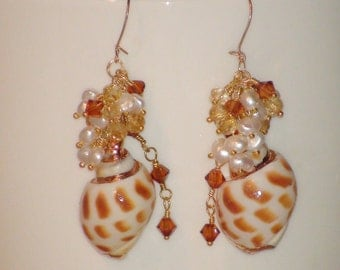 Cream Shell, Pearl, and Swarovski Crystal Earrings with Gold Filled Earwires