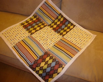 Argyle, Stripe and Polka Dots Cotton and Chenille Baby Quilt