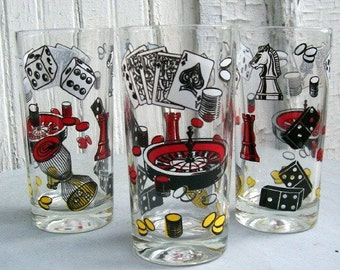 Set of 6 Vintage 1960s Casino Gambling Drinking Glasses  for Game Night