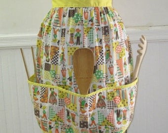 vintage 1970s Yellow Country Kitchen Patchwork APRON with calico, flowers, checks and  Pockets