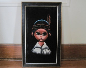 vintage Big Eyes Native American on Black Velvet Framed Art