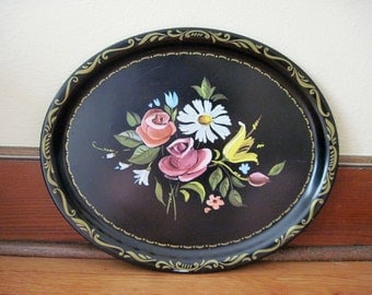 vintage 1940s Black Metal Tole Serving Tea Tray with Hand Painted Flowers - large, 16 x 13