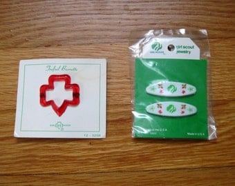 Vintage Girl Scout Hair Barrettes, 1960-70s, NEVER USED, still on original cards