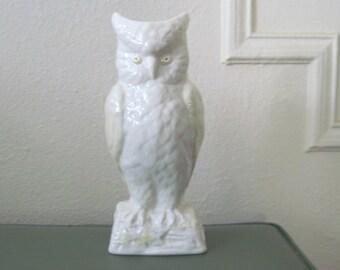 vintage BELLEEK Irish Porcelain White & Yellow OWL Spill Vase