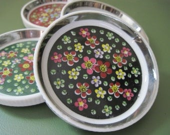 vintage 50s Chintz Ceramic Coasters with Mercury Silver Rim + ribbed edging - white & flowers, ladies luncheon, English Tea Party - set of 4