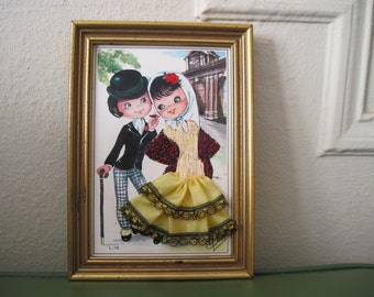 vintage Embroidered & Fabric MOD Courting Couple Framed Art