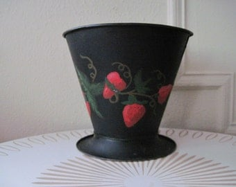 1920s Black Metal EMPECO footed bucket with Hand Painted STRAWBERRIES, vintage planter, flower pot, waste can