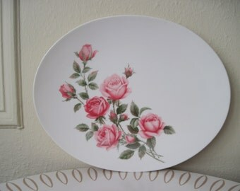 vintage Melamine High Tea Serving Platter for English Rose Garden Parties and Springtime Soirees