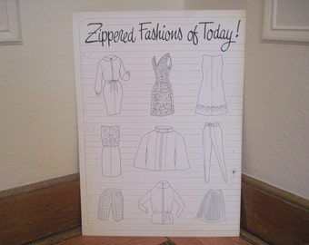 1960s Advertising ZIPPERED FASHIONS of TODAY Poster - black & white graphic wall art for studio, a sewing, craft room