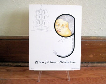 extra large 1970s Alphabet Flash Card - letter G is a Girl from a Chinese Town  - vintage nursery poetry  poster , ready to frame