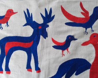 vintage Otomi Central American Textile  Wall Hanging -with 2 headed bird and deer and elk