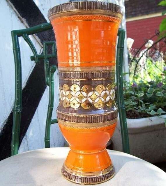 Large Vintage Mid-Century Orange Ceramic RAYMOR Vase