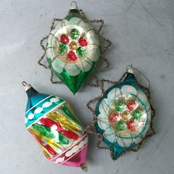 Sale 3 Large Vintage Glass Christmas Ornaments