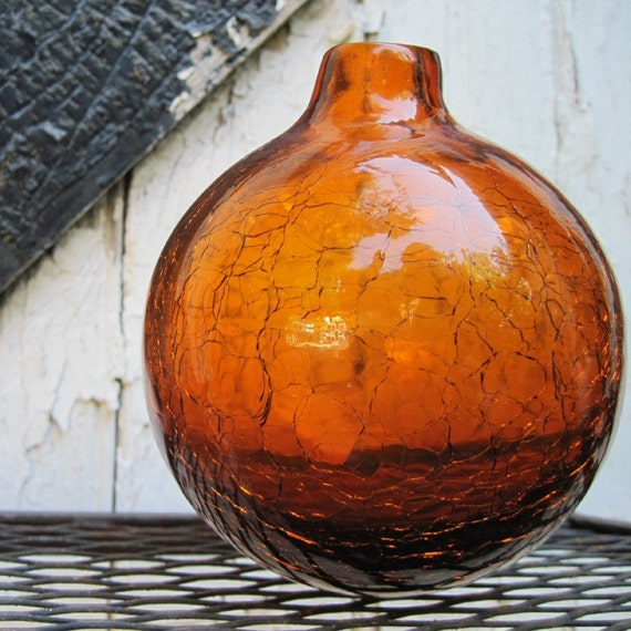 Vintage Amber Crackle Glass Ball Vase