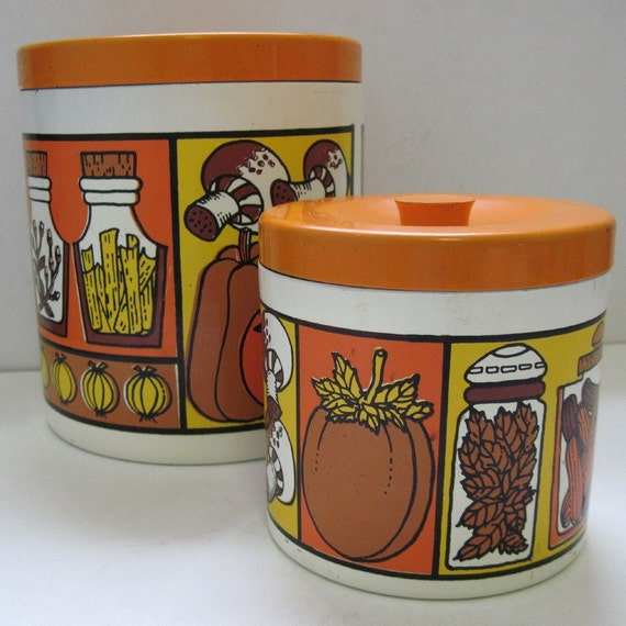 Kitchen Set Orange: ON HOLD Vintage 70s Orange Groovy Kitchen Canisters Set By