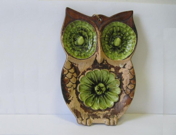 vintage Green & brown Treasure Craft OWL Spoon Rest Wall Plaque