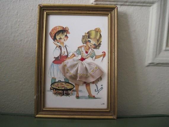 vintage Embroidered & Fabric MOD Girl with Shrimp Framed Art