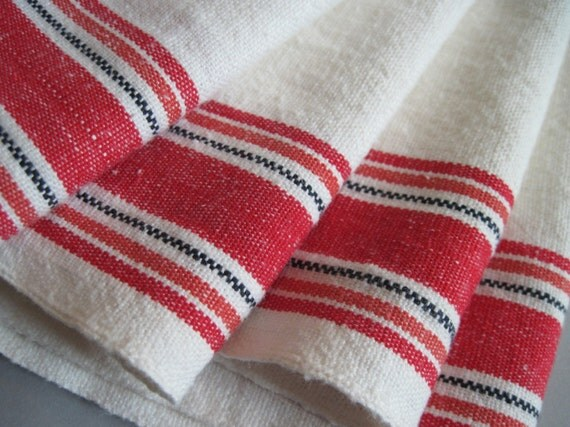 set of 4 1950s Red Striped Tea Towels, vintage kitchen linens, by Martex, made in USA