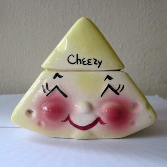 Vintage 1950s DEFOREST of CALIFORNIA CHEEZY Jar - wedge of cheese - ceramic covered bowl