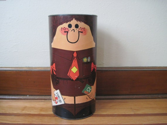on hold......SCOUTS HONOR, vintage 1970s Brownies Girls Scout Waste Bin, trash can