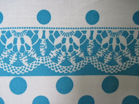 vintage 76 inch linen oblong TABLECLOTH -Turquoise Blue POLKA DOT & Lace Print