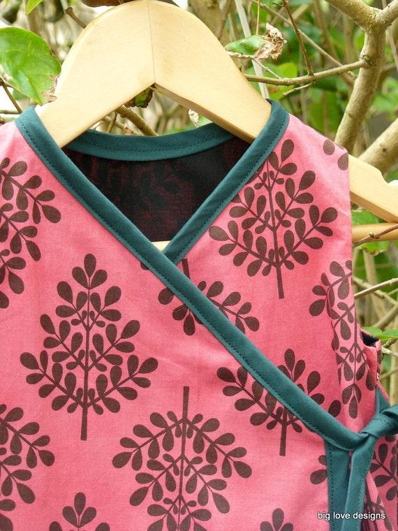 Kimono dress in Pink Tree Print. Sizes 6-12mths 12-18mths 2T